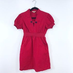 [BeBop] Red Button Detail Puff Sleeves Dress